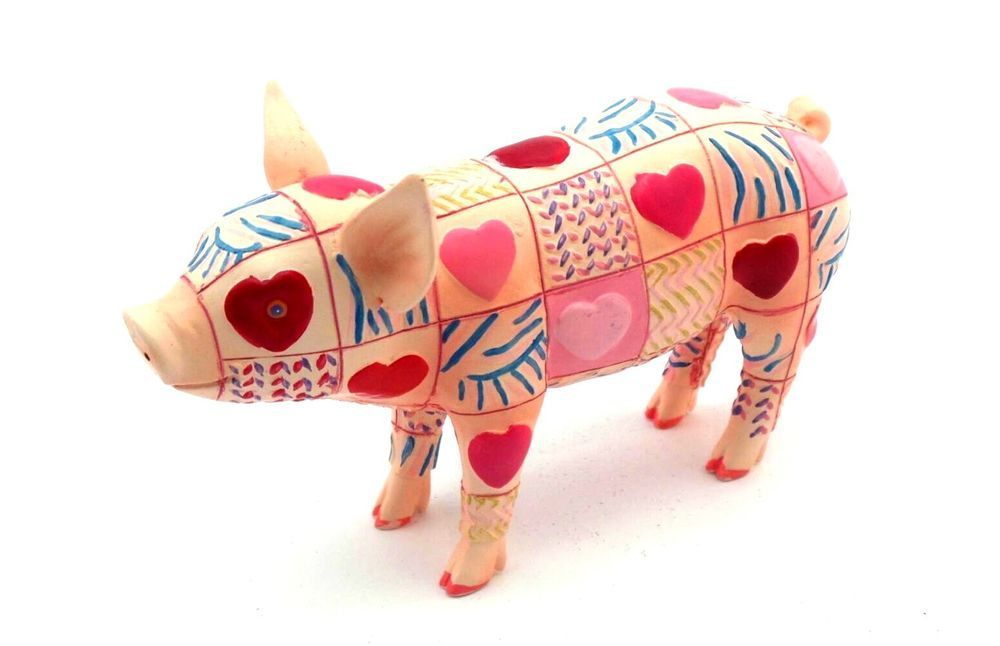 """Pig Of My Heart Valentine's Day Piggy Westland Giftware New This Little Piggy Pig of My Heart Valentine's Day Piggy! Made of high quality cold cast resin and hand painted all over with hearts. Created by Westland Giftware for the """"This Little Piggy"""" collection.  Measurement: 5' long x 3"""" tall x 2"""" wide"""