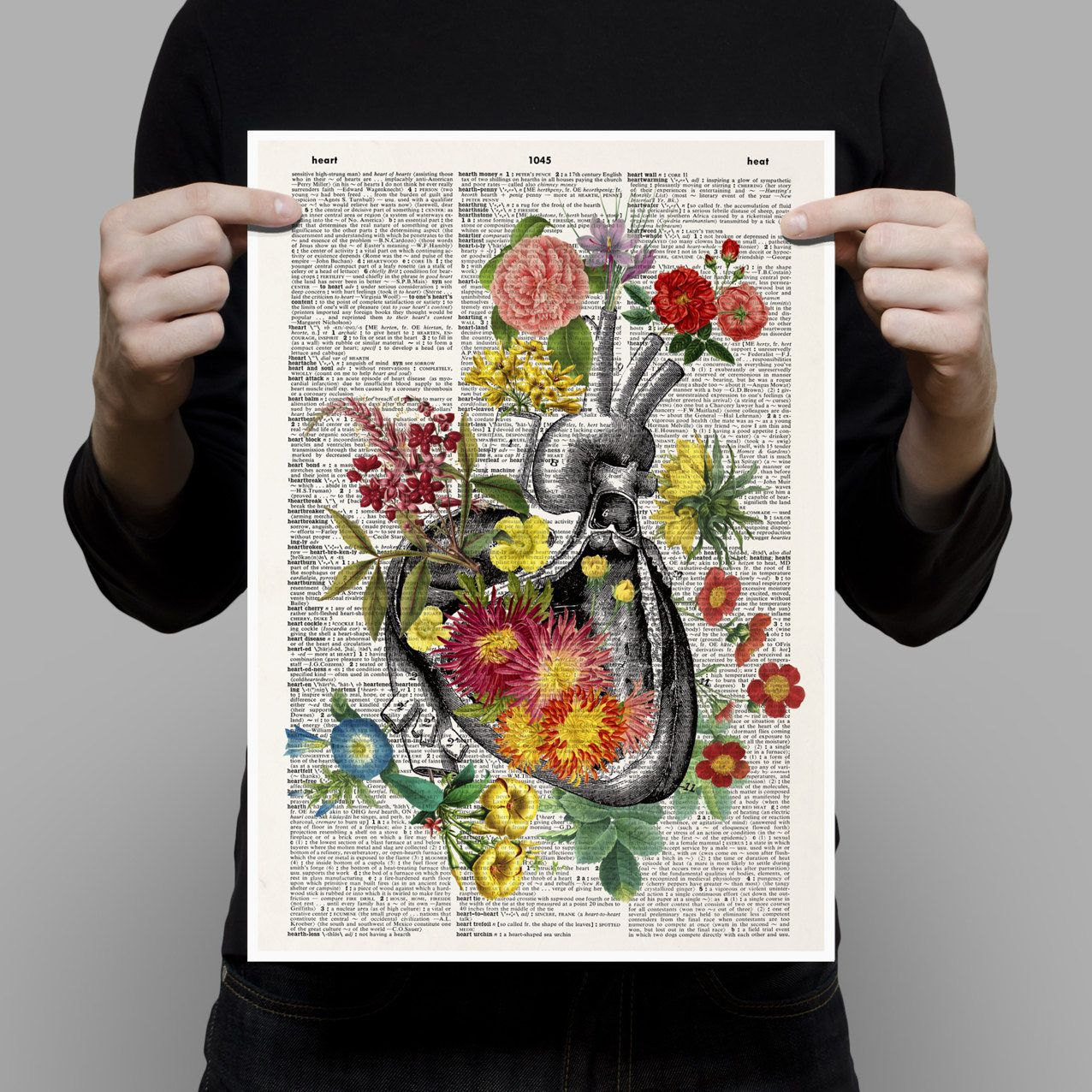 Human Heart With Flowers Print  Love Gift  Anatomical