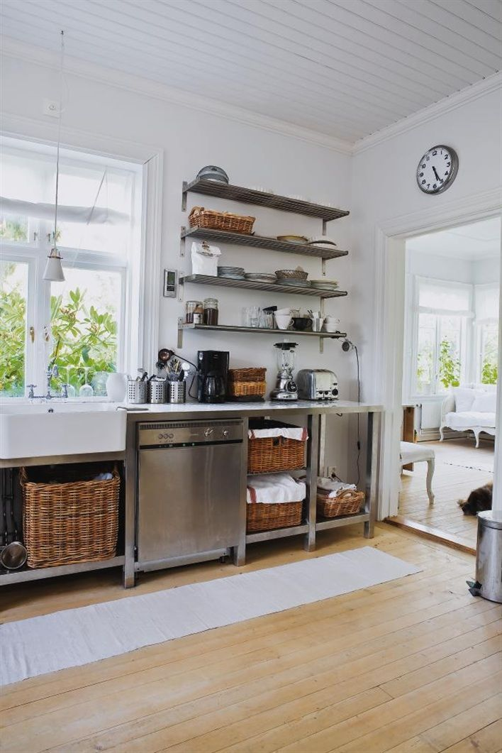 simple rustic kitchen and baskets u0026 open shelves