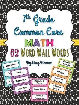7th grade common core math vocabulary word cards vocabulary words math vocabulary and math. Black Bedroom Furniture Sets. Home Design Ideas