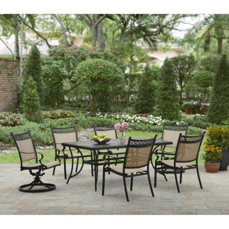 Better Homes and Gardens Lyndal Place 7pc Sling Cast Header Dining Set - Walmart.com
