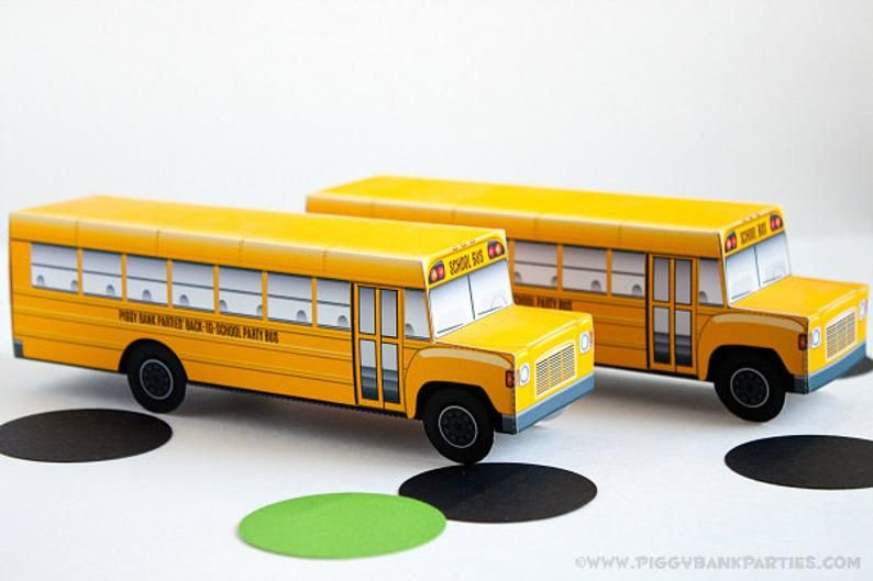 School Bus Favor Box Print At Home Full Color Template Back To