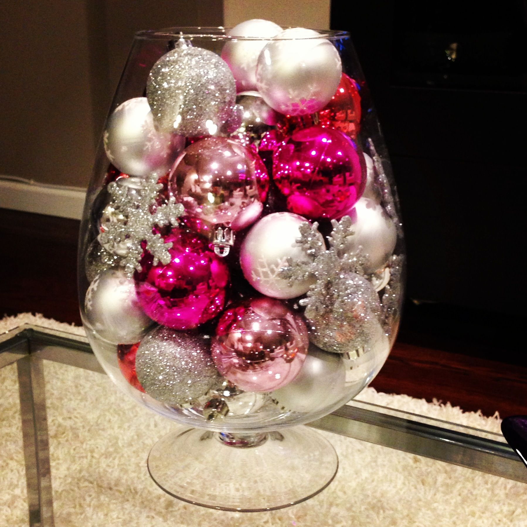 Diy Christmas Decor  Oversized Wine Glass Vase From Marshall's And Add  Some Pretty Ornaments I Like The Silver Snowflake Ornaments In This Vase