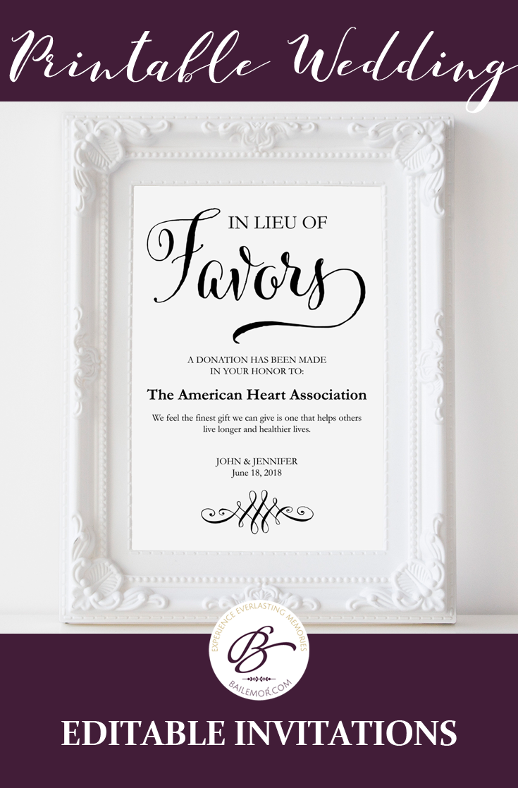 In lieu of wedding favors sign let you guest know your wedding in lieu of favors sign wedding donation sign charity donations favor table signs favours sign editable pdf template stopboris Images