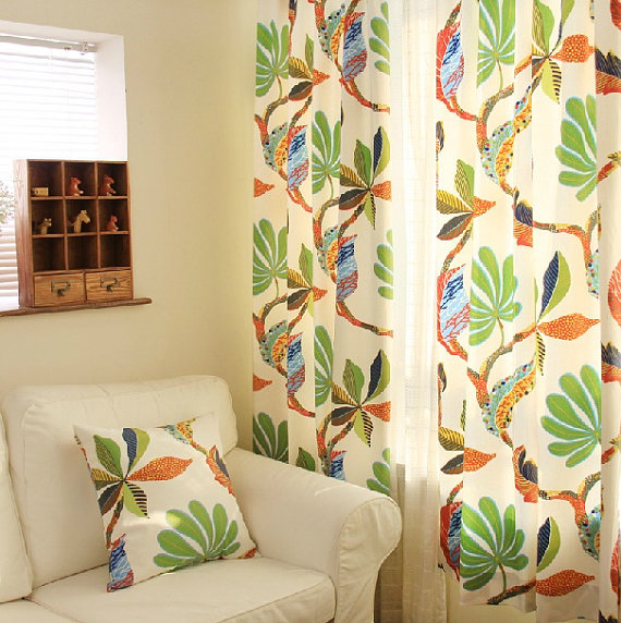 Cotton Duck Tropical Leaf Print Curtain Panel 52 W Etsy Tropical Curtains Printed Curtains Curtains Living Room