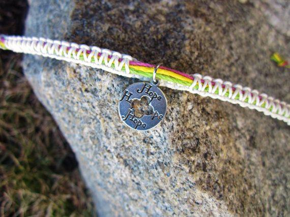 Tie On Square Knot Hemp Bracelet Hope Charm Macrame by JackZenHemp, $13.00
