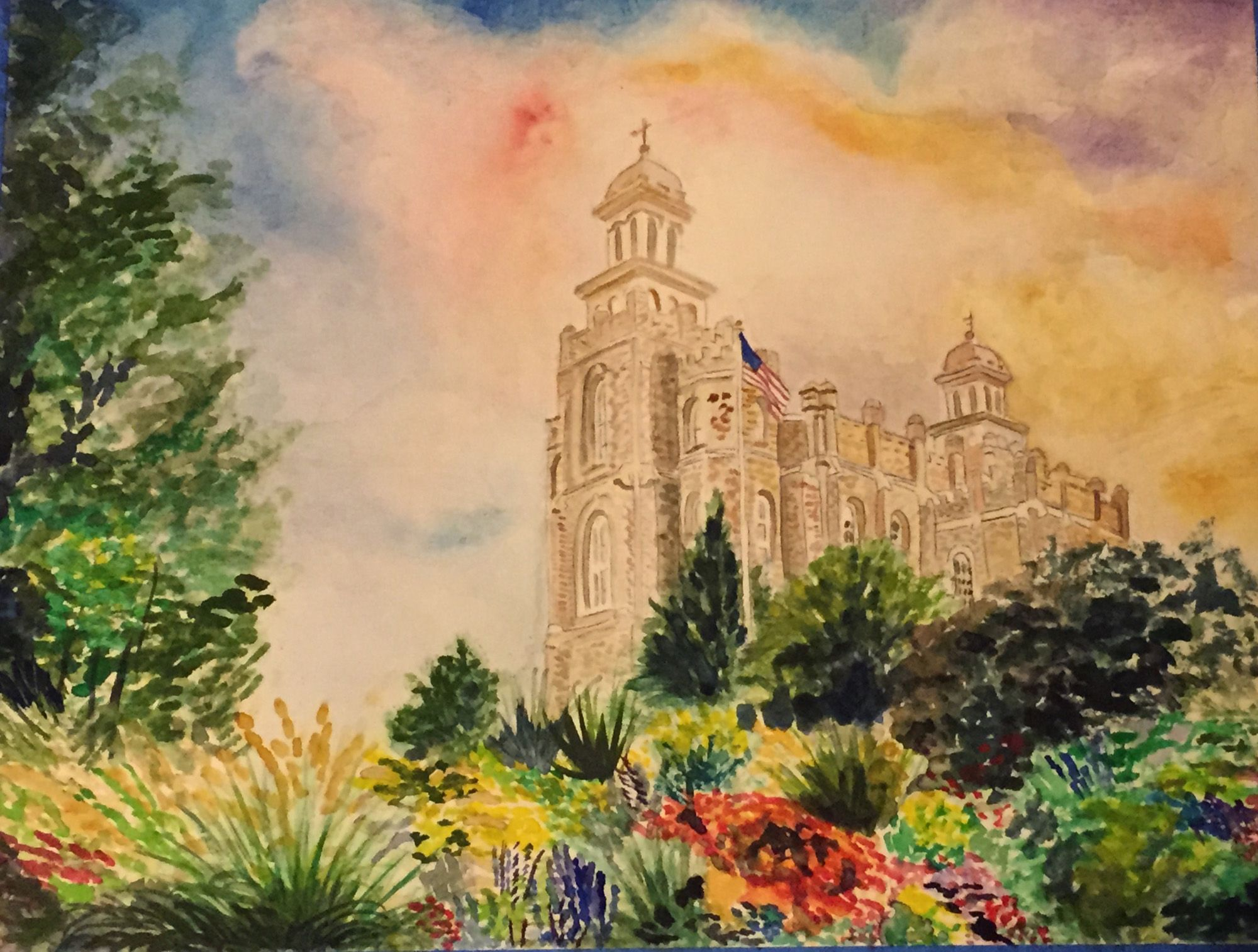 Watercolor Of Manti Lds Temple Lds Temples Sacred Art