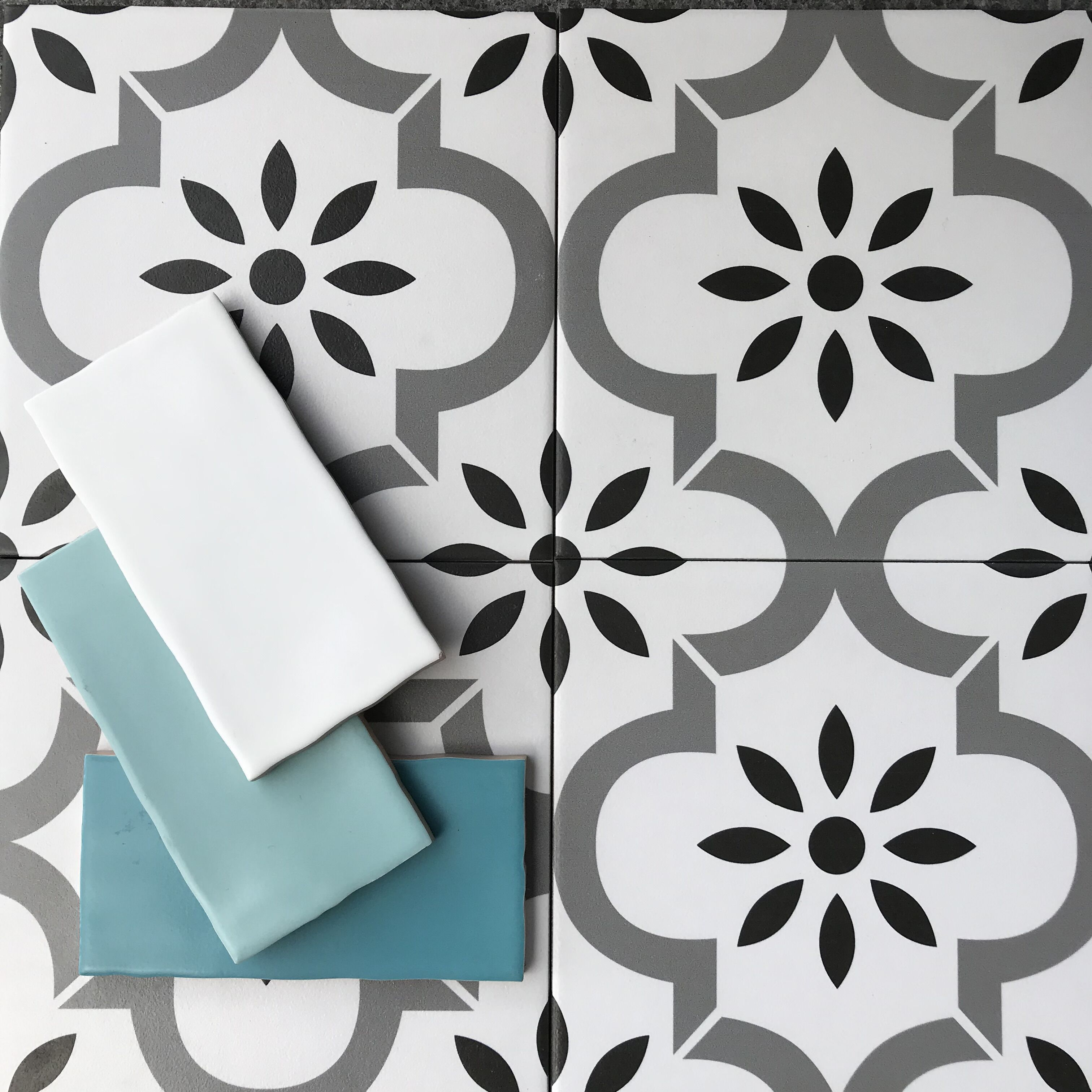 floral tile bathroom