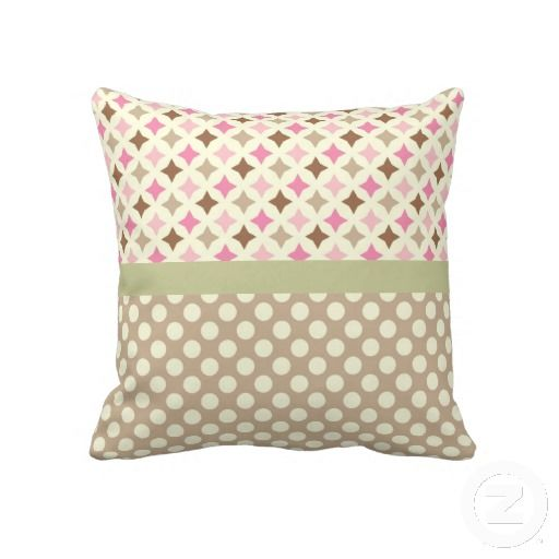 THROW PILLOW from DE LIERRE DESIGNS(pink,beige and green diamonds pattern,brown,polka dots,chic ...