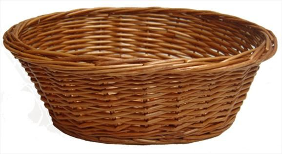 Small Oval Stained Wicker Basket Measuring Approximately