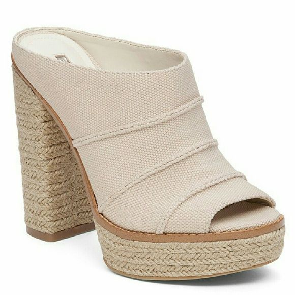 BCBGeneration Cecely Sandals Jute wrapped platform mule.  Canvas upper, great support & comfortable. New never worn - too big for me BCBGeneration Shoes Mules & Clogs