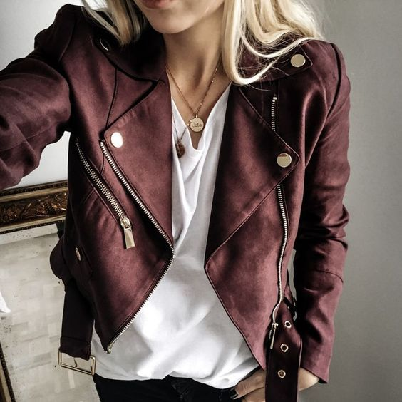 dark red suede moto jacket mode pinterest mode femme v tements et tenue. Black Bedroom Furniture Sets. Home Design Ideas