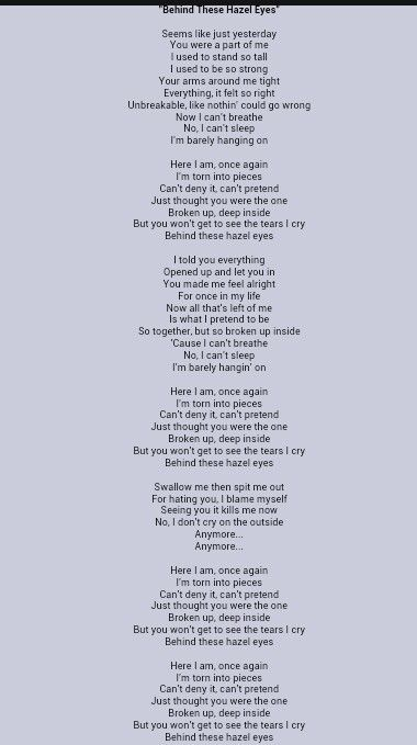 Kelly Clarkson:Behind These Hazel Eyes Lyrics