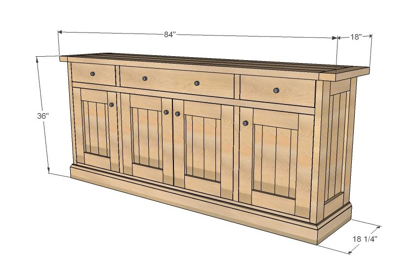 ana blanc construire un sideboard planked bois projet de bricolage gratuit et facile et des. Black Bedroom Furniture Sets. Home Design Ideas
