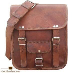 2c7529ef3f Men s Vintage Brown Leather Full Flap Messenger Laptop Satchel Shoulder Bag  • QUALITY LEATHER BAG Each bag is individually made using goat leather by  ...