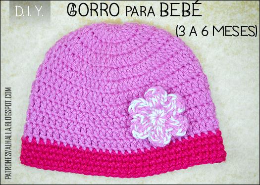 Patrón Gratis  Gorro para bebé a Crochet   0 a 3 meses (video ... 97f01fd765b
