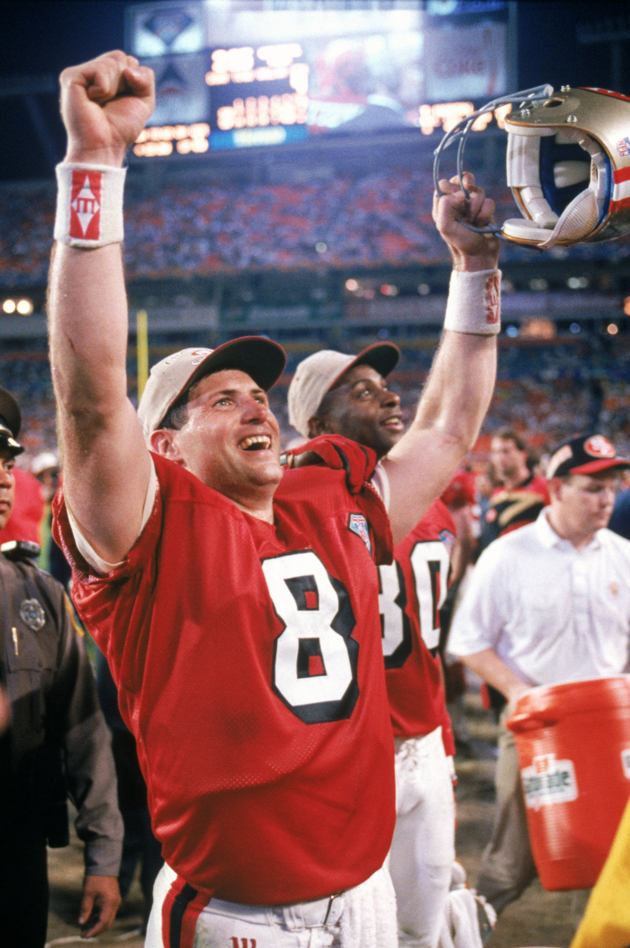 2c5081cbd Steve Young of the San Francisco 49ers celebrates following their Super  Bowl XXIX victory against the San Diego Chargers.