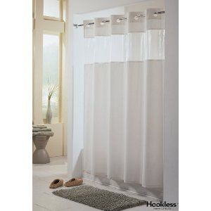 Amazon Com Viewtop Fabric Shower Curtain Hookless White With