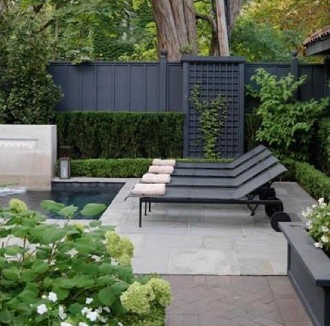 Looking at inspiration fences to keep our new 🐶 in & came across this prettiness. #fencegoingupasap #poolgoals #exteriorstyle