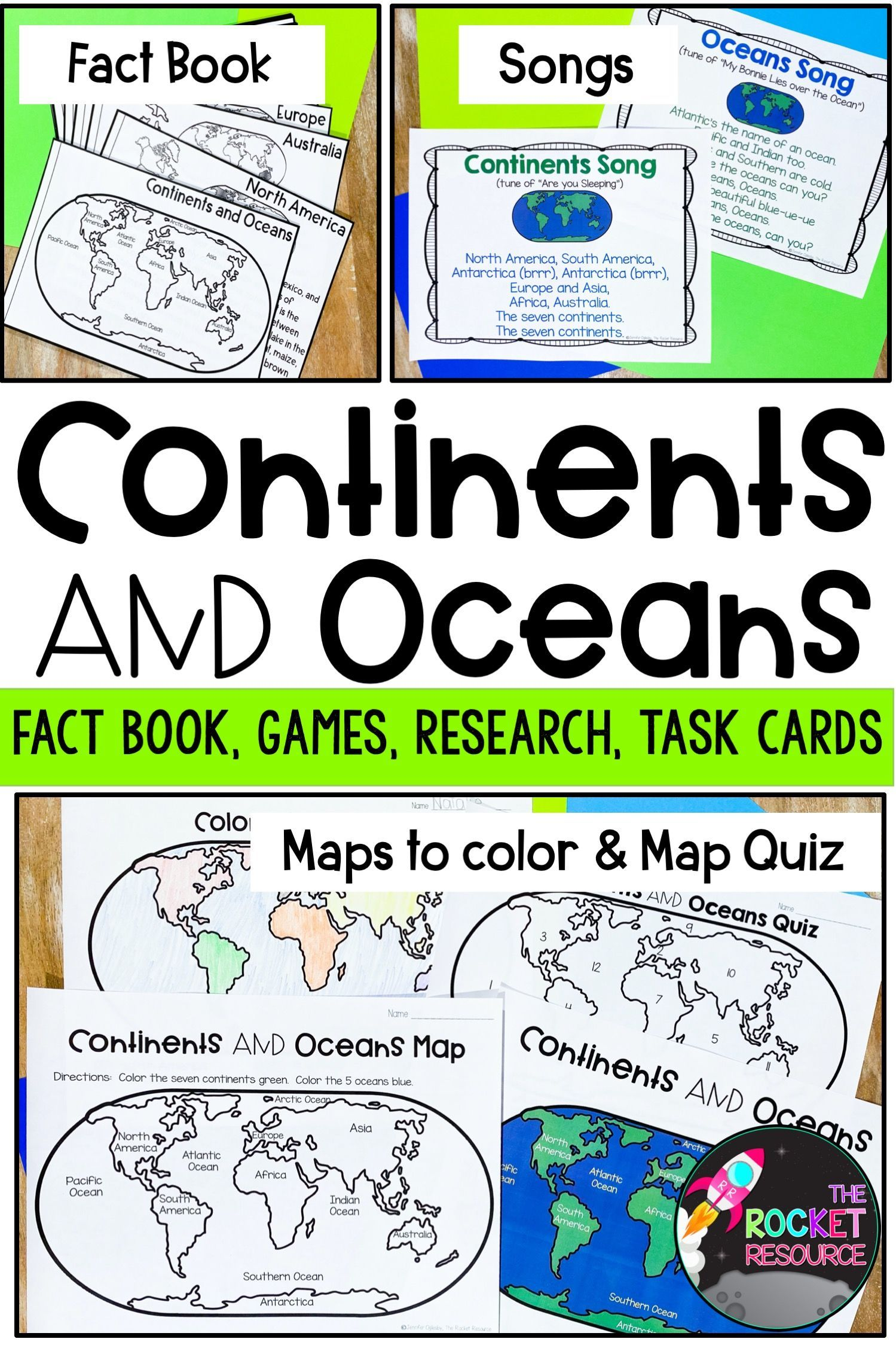 Continents And Oceans Fact Book Color Label Games In