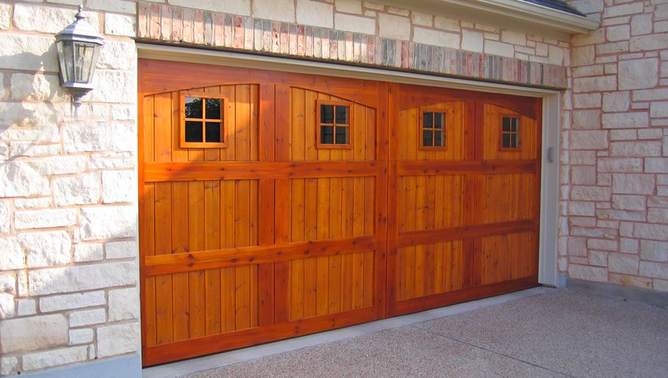 Custom Cedar Garage Door With Special Two Tone Stain Wooden Garage Doors Garage Doors Cedar Garage Door