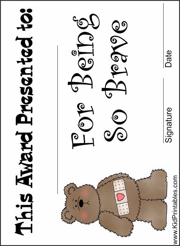 printable award for being so brave | Fun Kid Printables | Awards ...