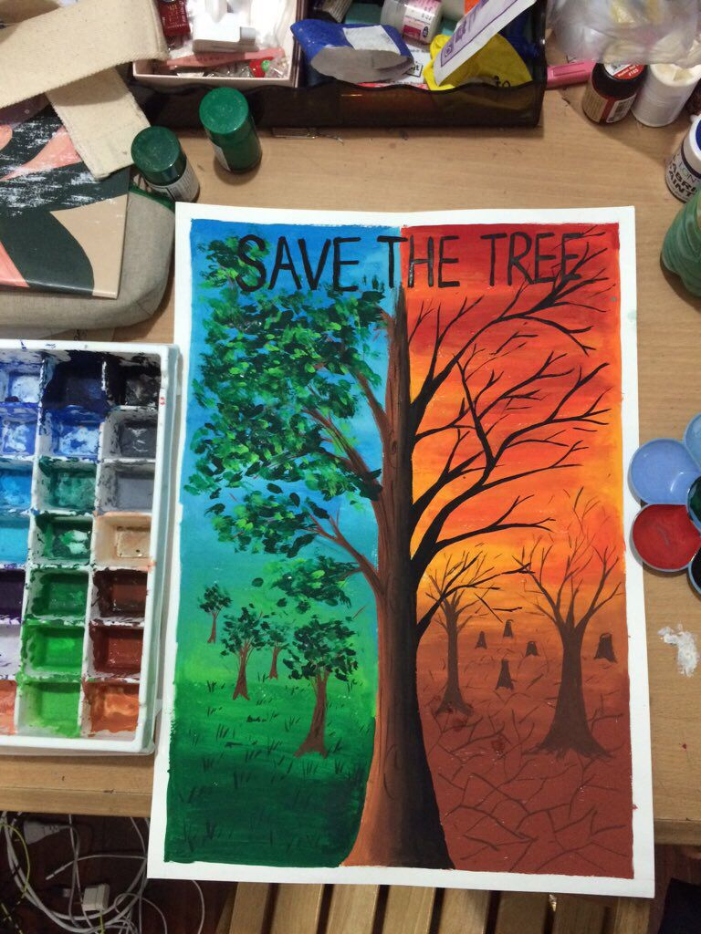 Save the tree poster colour poster color painting bad painting