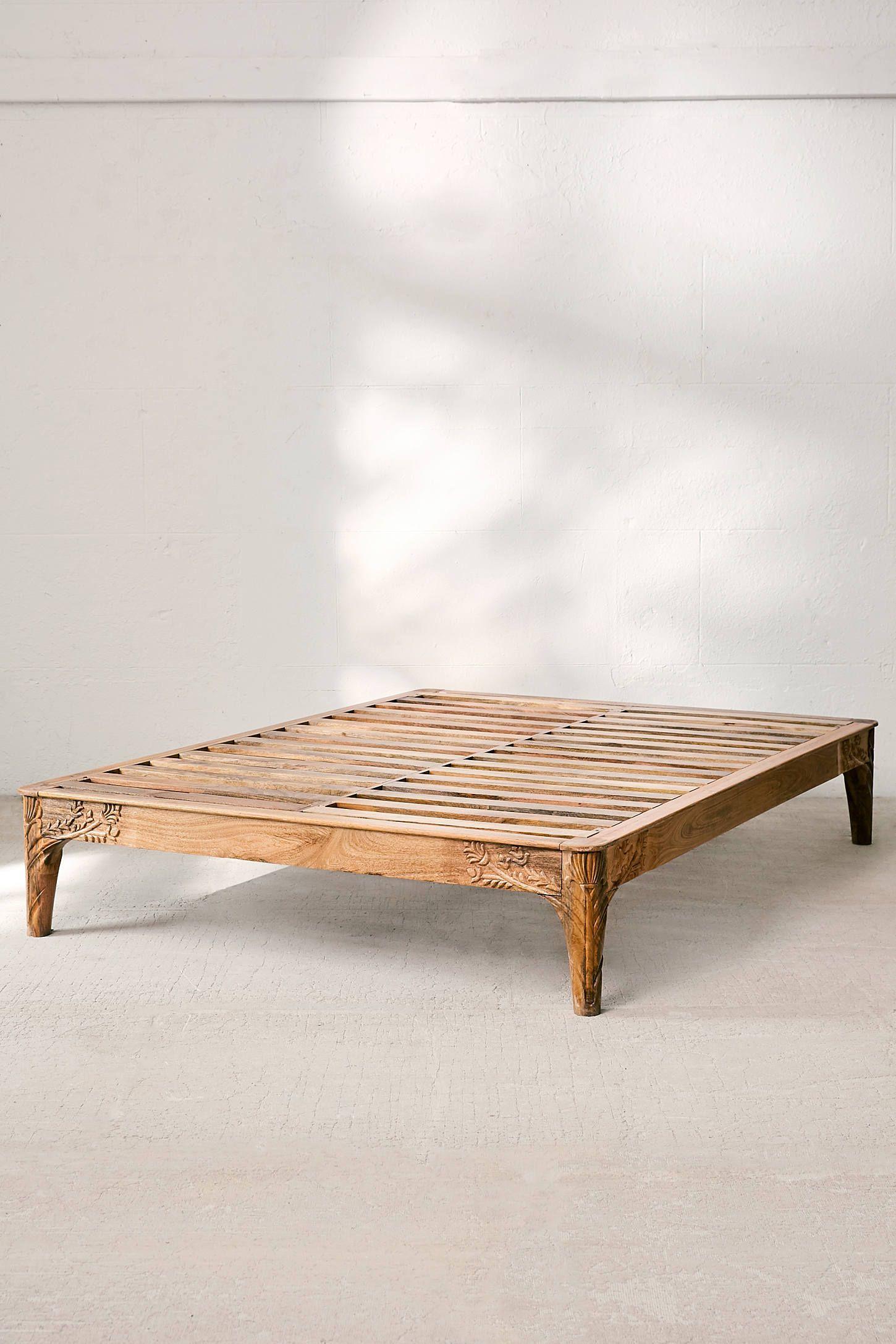 Andrea Carved Platform Bed Urban Outfitters Wooden Platform