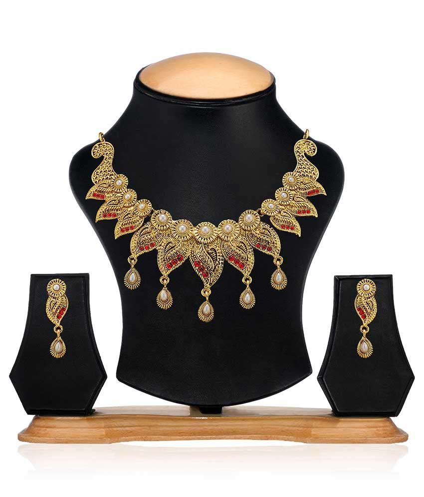 Zaveri pearls golden stylish necklace set