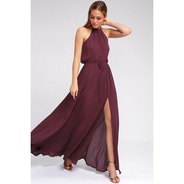 Lulus Essence Of Style Plum Purple Maxi Dress 100 Liked On Polyvore Featuring Dresses Cutout Floor Length