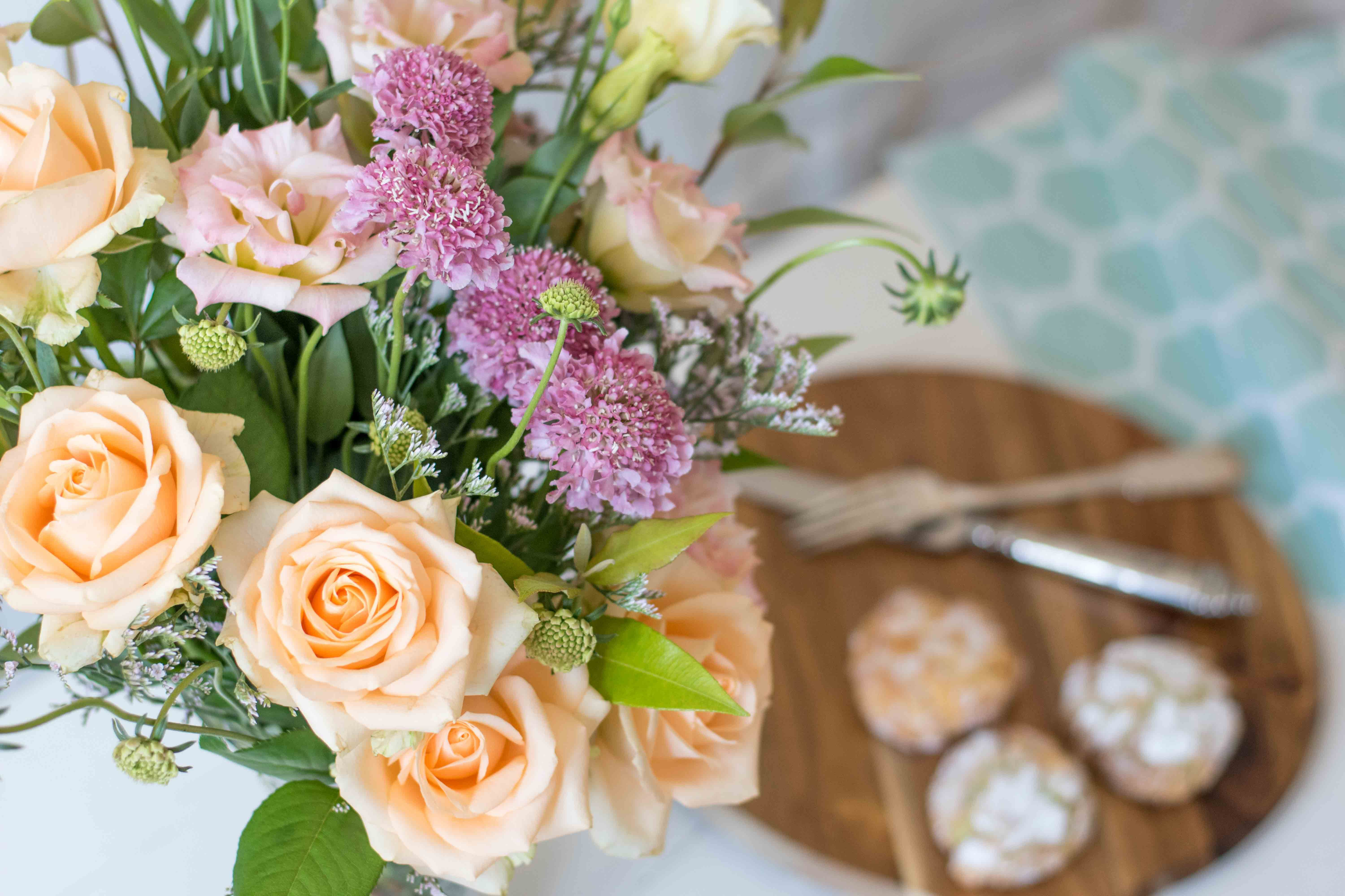 Stunning Apricot Rose pairs sublimely with Scabiosa, Misty