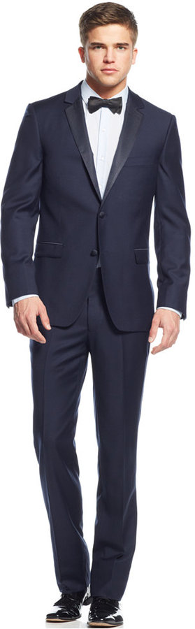 DKNY Extra Slim-Fit Navy Blue Tuxedo | Blue tuxedos, Tuxedos and ...