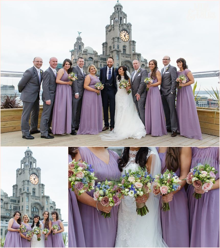 Bridal Party Photographs On Roof Terrace At Oh Me My In Liverpool Purple