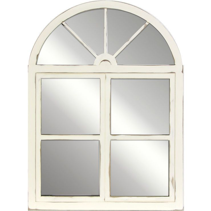 29 X 39 Distressed White Arch Window Rustic Wall Decor Rustic White Rustic Mirrors