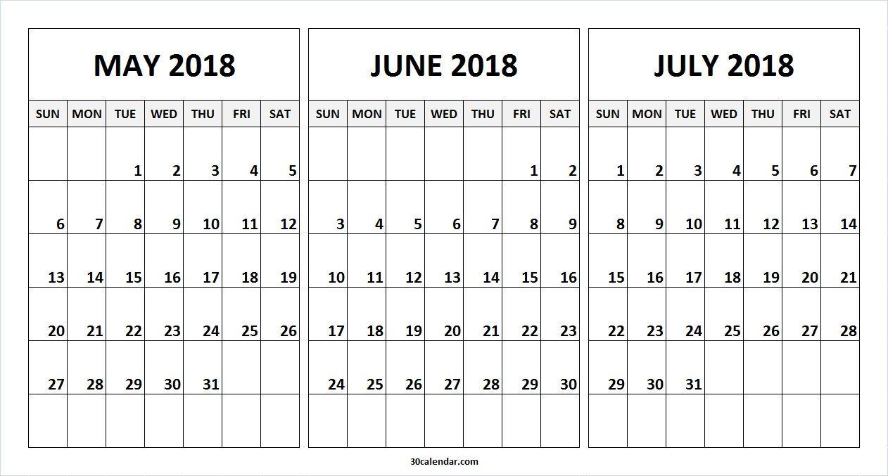 May June July 2018 Calendar To Print Online 2018 Calendar