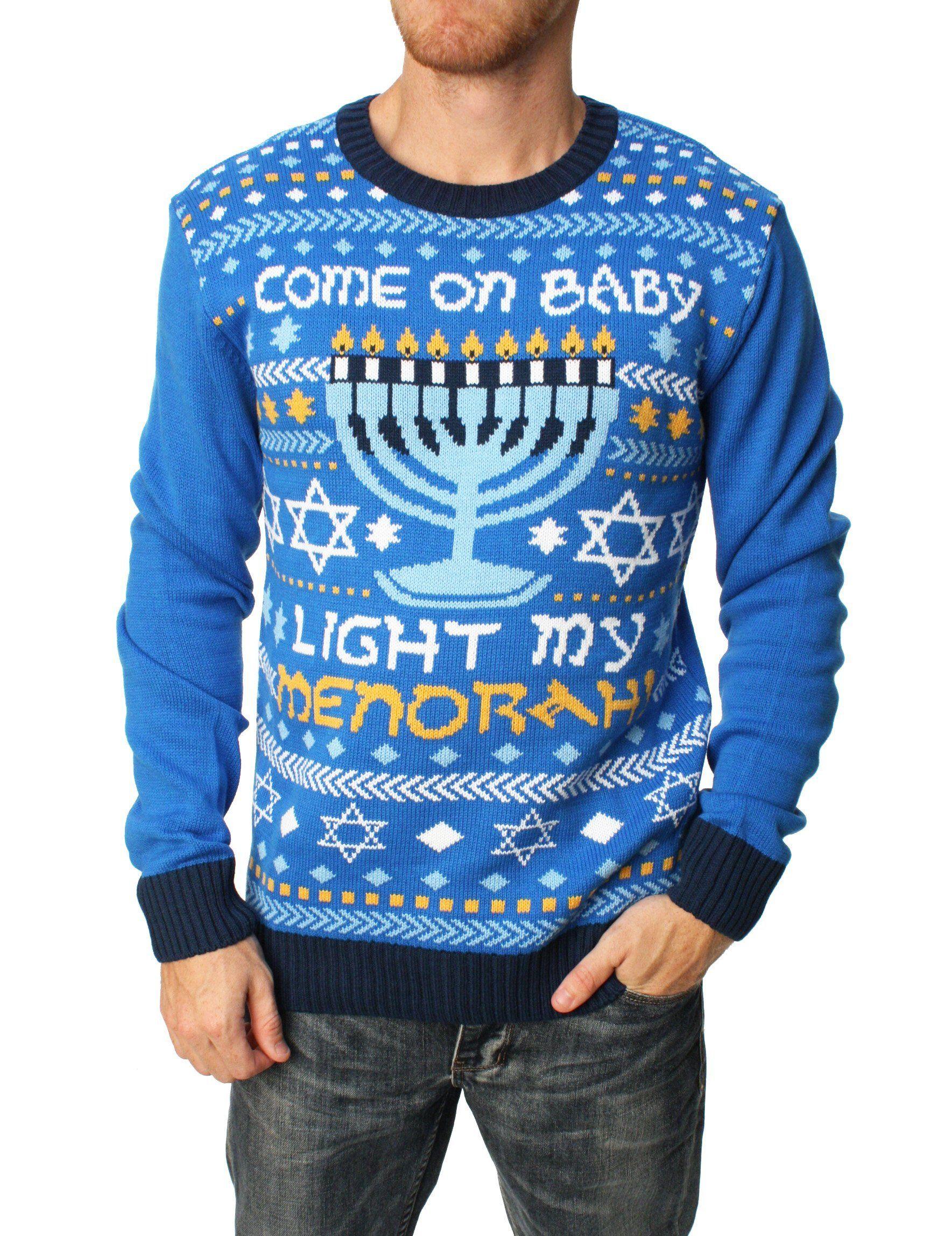 20d4f805b Ugly Christmas Sweater Men s Come On Baby Light My Menorah Hanukkah ...
