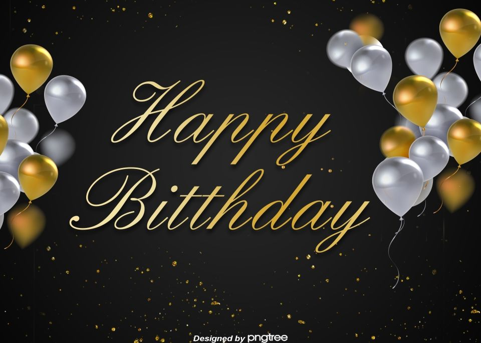 Happy Birthday Background For Black Gold Minimalist Party