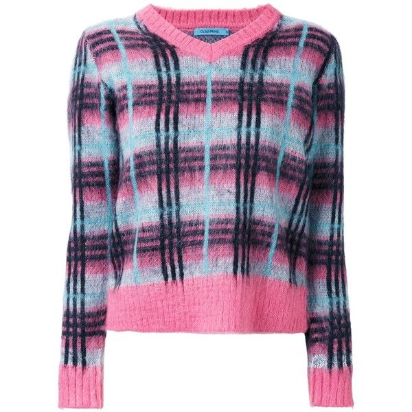 Guild Prime plaid contrast trim jumper (€185) ❤ liked on Polyvore featuring tops, sweaters, plaid jumper, print sweater, print top, jumper top and plaid top