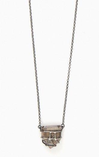 Big Clear Caged Quartz necklace by Elaine Ho, shop at: www