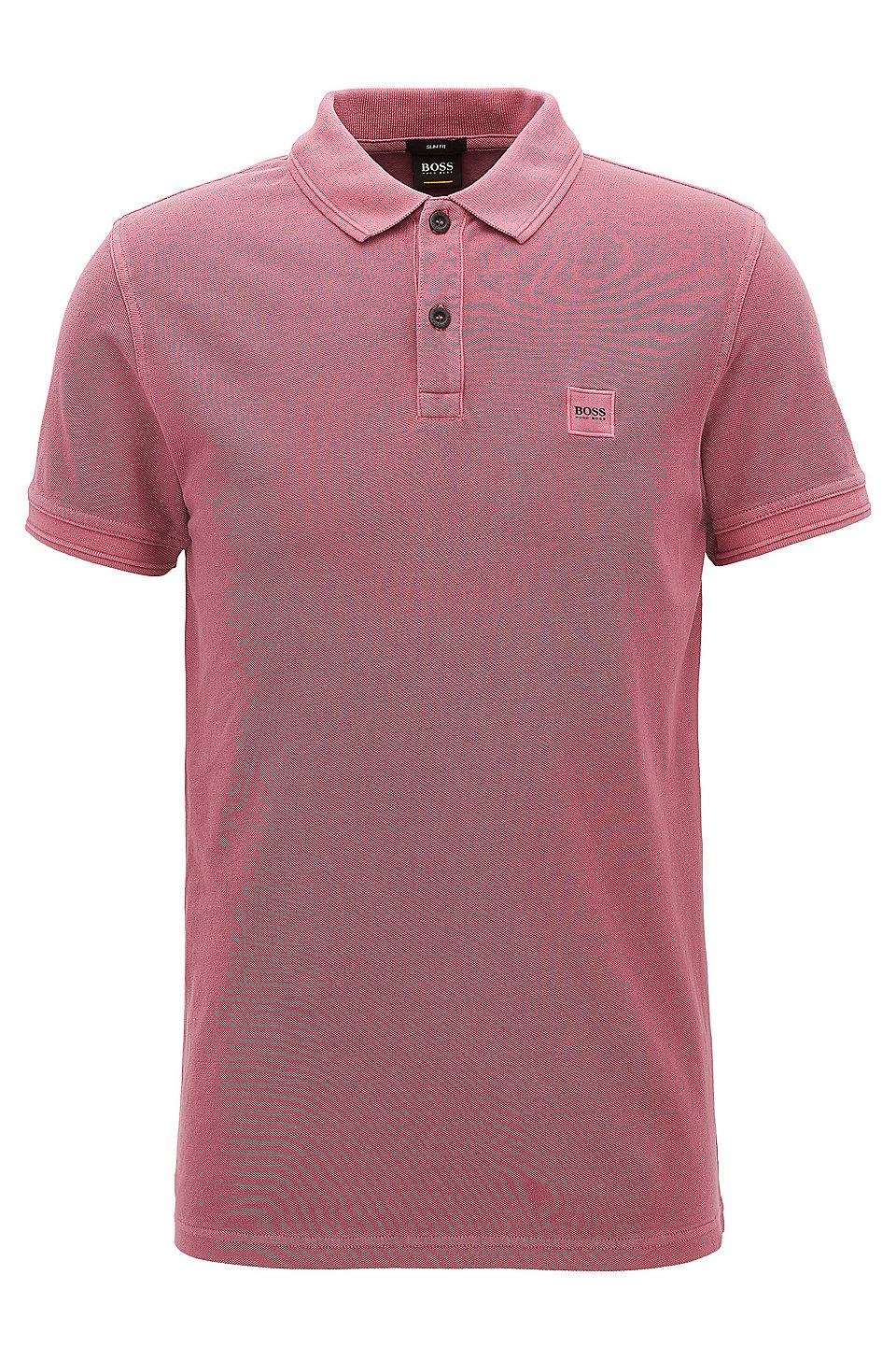 1da5e975f8 Slim-fit polo shirt in washed cotton piqué Dark Purple from BOSS Orange for  Men for £65.00 in the official HUGO BOSS Online Store free shipping