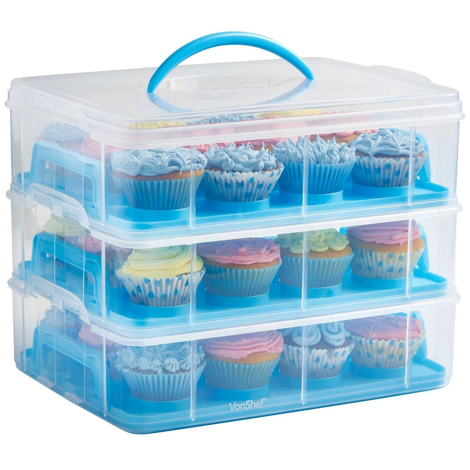 36 Cupcake Carrier Vonshef Snap And Stack Blue 3 Tier Cupcake Holder & Cake Carrier
