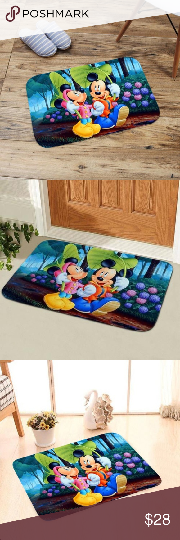 Disney Mickey Minnie Leaf Umbrella Bath Mat Memory Foam Cushion Umbrella Disney Mickey