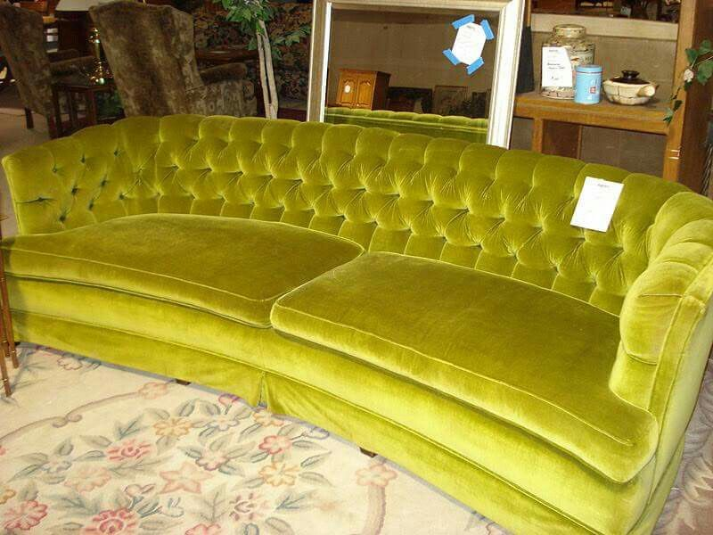 70s Avocado Tuffted Velvet Couch Retro Couch 70s Home Decor Curved Sofas Uk