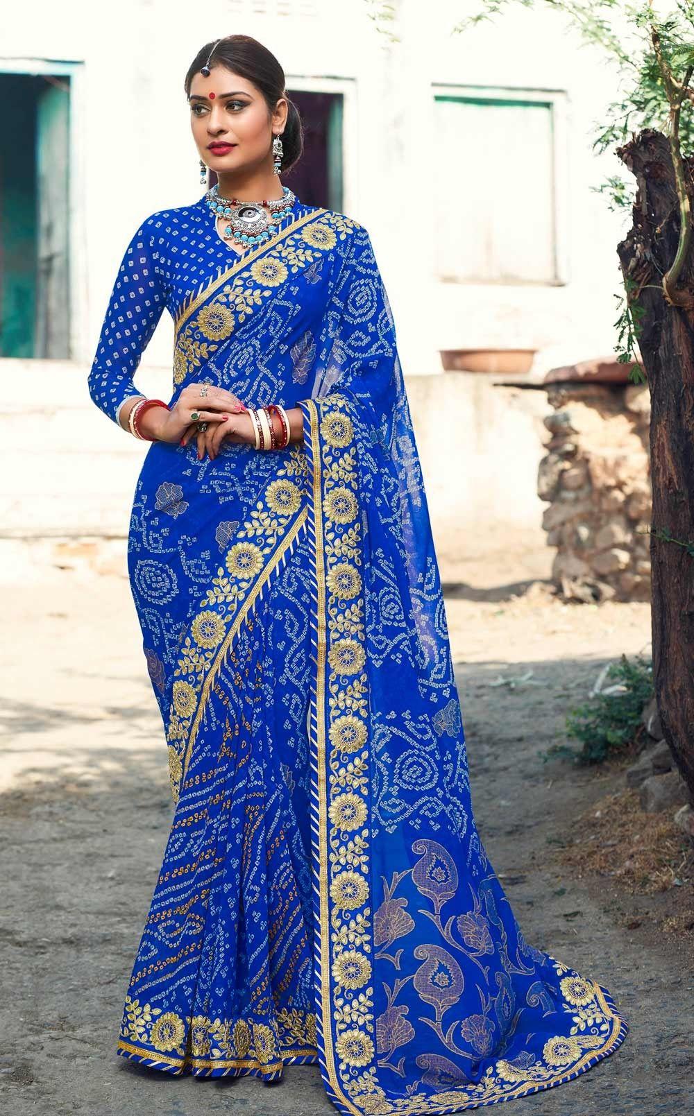 0f825edf7c Designer Blue Georgette Bandhani Print Saree with heavy zari work lace  border