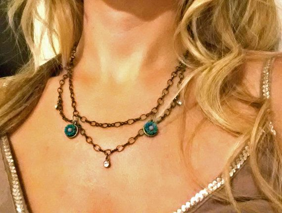 Turquoise Flower Necklace with Layered Chain by SparklySomething