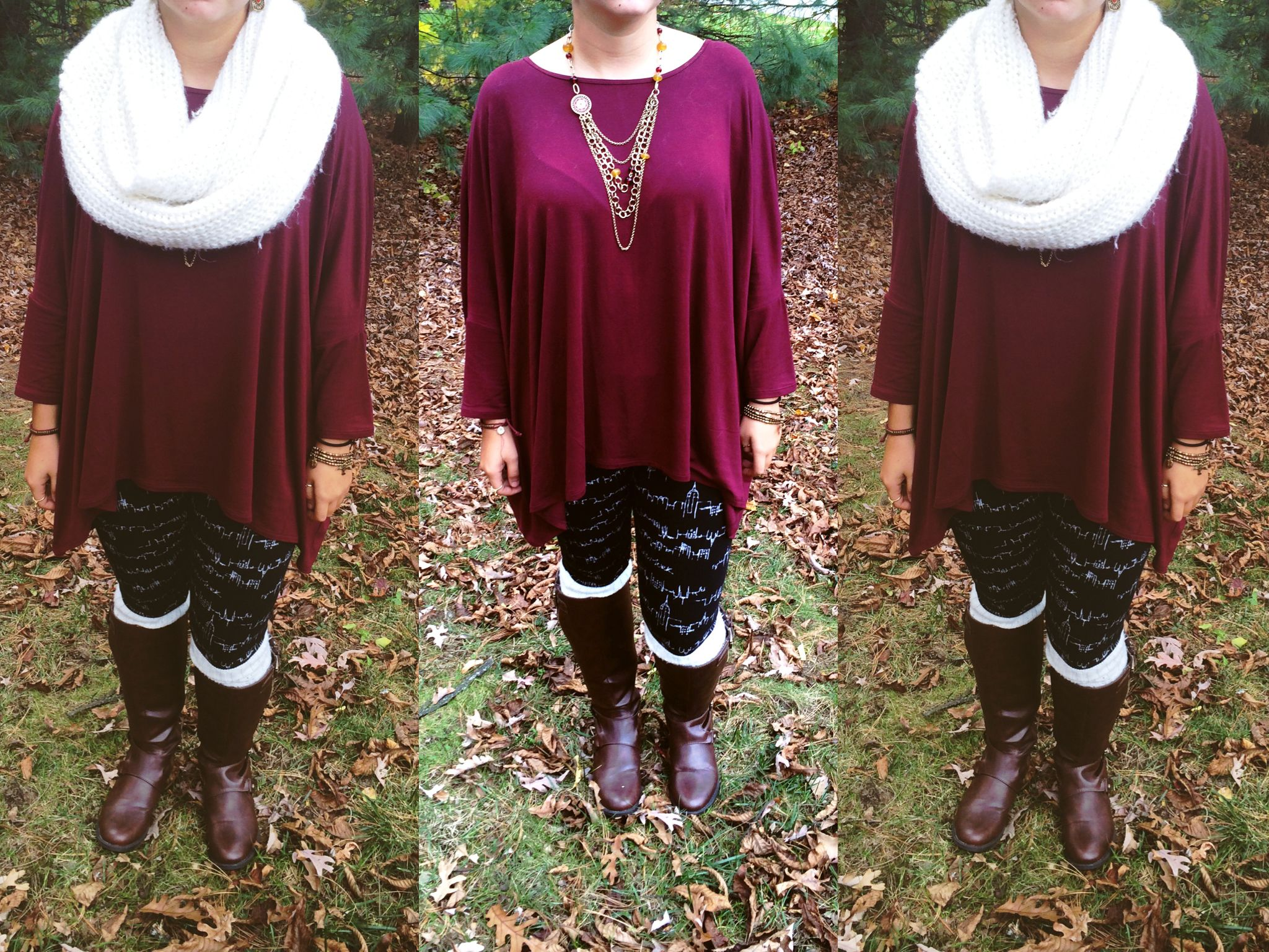 This color truly screams fall! boots from Macy's, brand is Guess // leg warmers from Payless // leggings, shirt, and scarf from Abercrombie and Fitch // all jewelry worn from Lucky