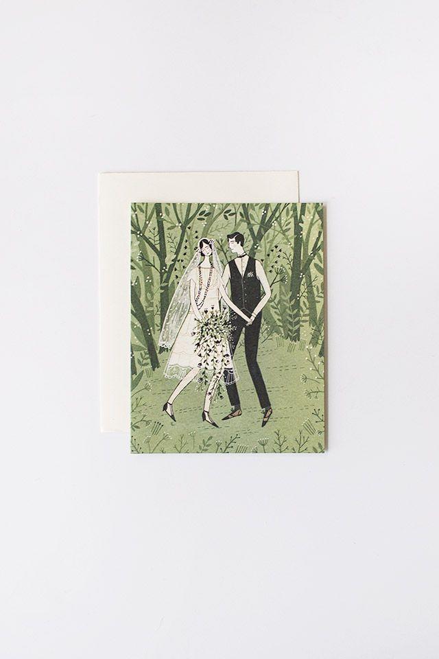 vintage 20s inspired forest wedding bridal card