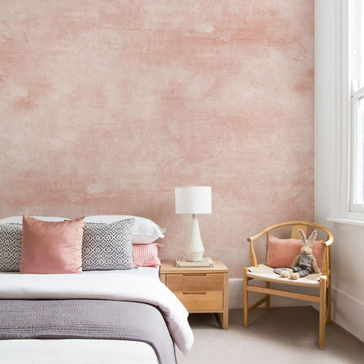 Venetian Plaster Faux Texture Mural Wall Art Peel And Stick Wallpaper Pink 431078995585744533 Accent Wall Bedroom Home Decor Bedroom Wall