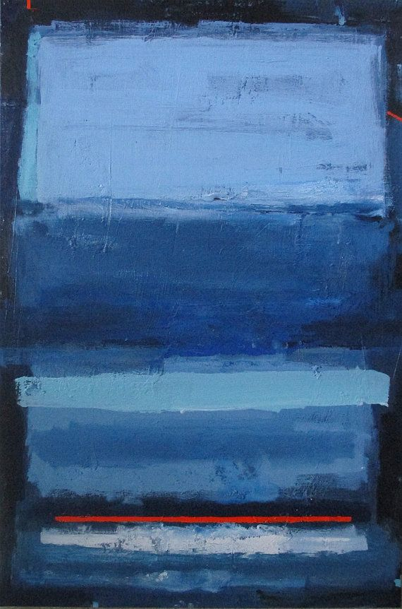 Abstract Painting Modern Minimalist Blue Color Field Art Large Canvas 36x24 Elston On Etsy 370 00