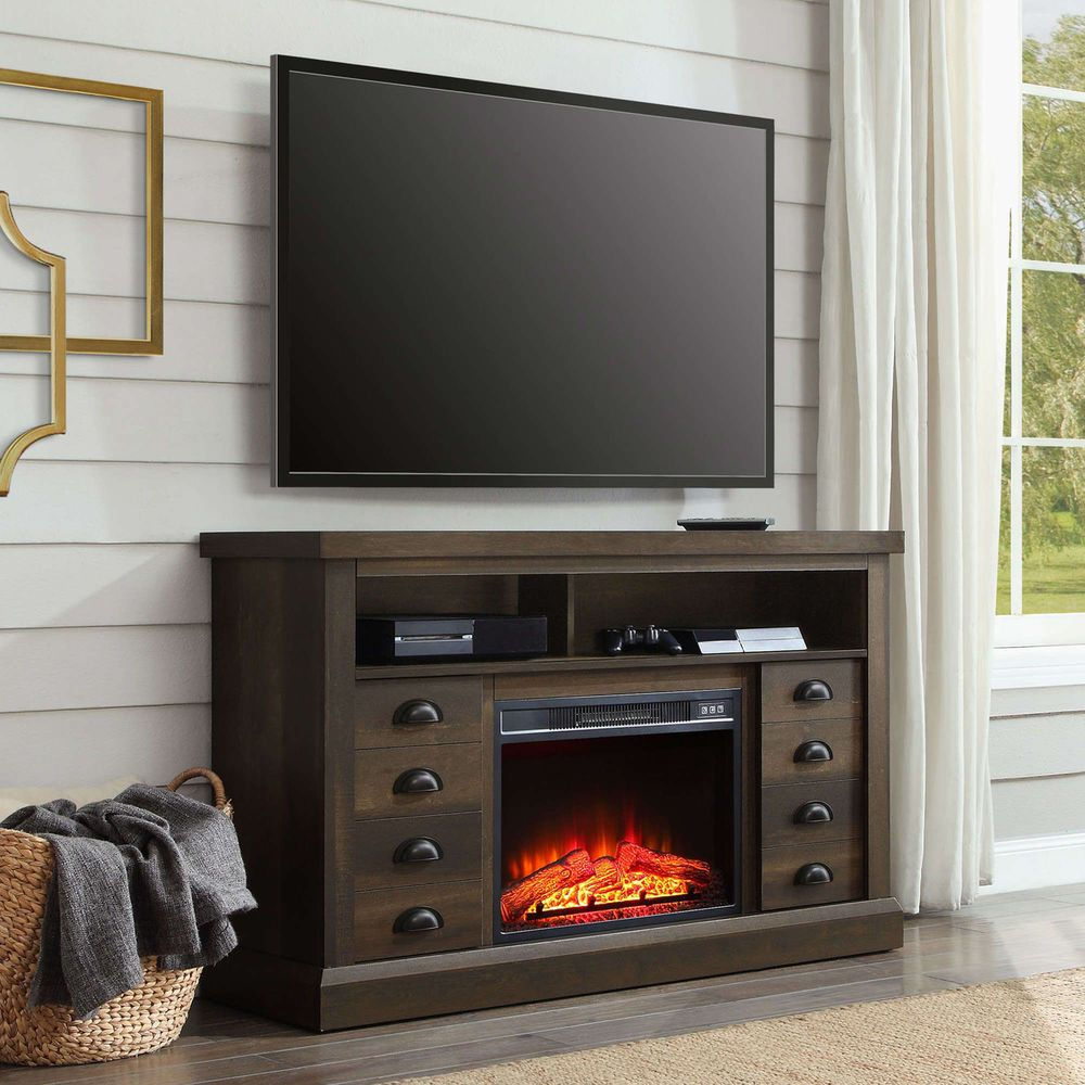 70 Tv Stand With Fireplace Media Console Electric Heater